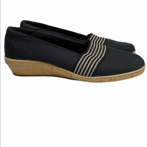 Grasshoppers Black Canvas Comfort Wedge